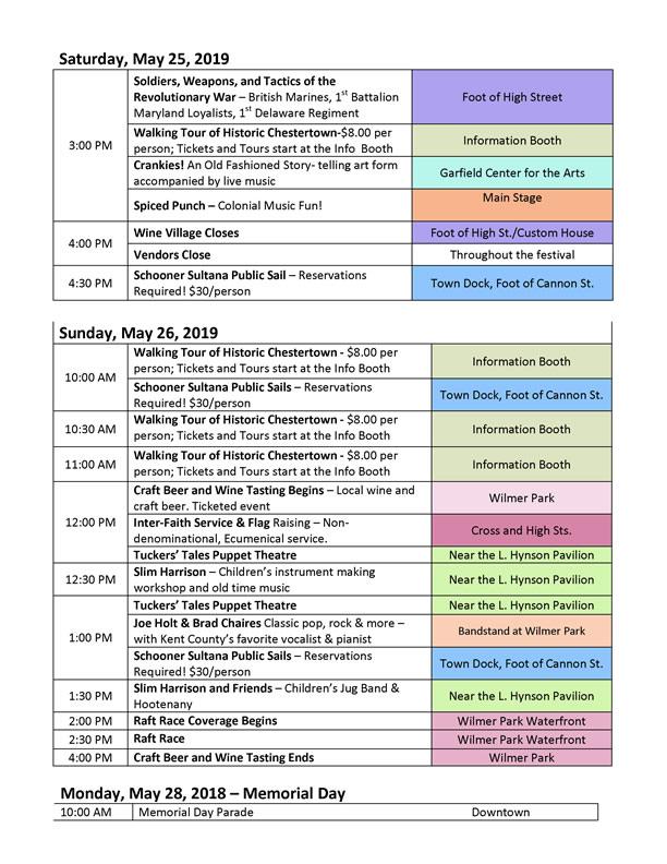 Chestertown Tea Party Festival – May 22-24, 2020 | Memorial